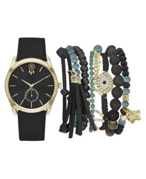 Women's Analog Black Denim Strap Watch 36mm with Black and Turquoise Bracelets Set