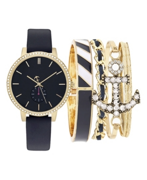 Women's Analog Navy Strap Watch 38mm with Stackable Gold-Tone Anchor Bracelets Set
