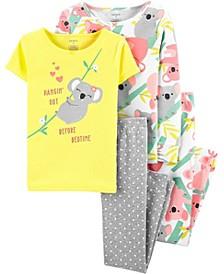 Big Girls 4-Piece Koala Snug Fit Cotton Pajama