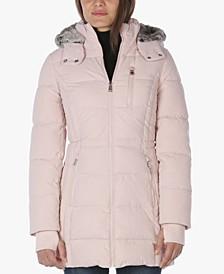 Faux-Fur-Trim Hooded Anorak Puffer Coat