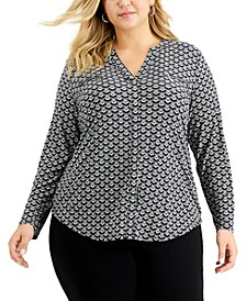 Plus Size Printed Zip-Pocket Top, Created for Macy's
