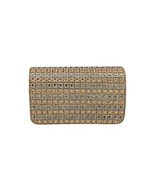 Jianna Crystal Grid Flap Clutch