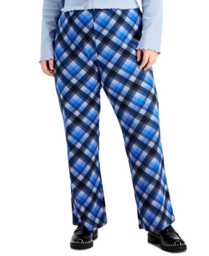 Trendy Plus Size Plaid Bootcut Pull-On Pants