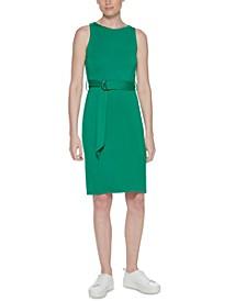 Belted Jersey Sheath Dress