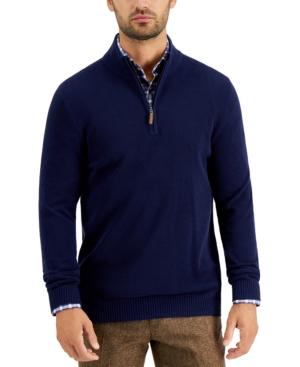 Men's Quarter-Zip Textured Cotton Sweater
