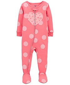 Baby Girls 1-Piece Heart Snug Fit Cotton Footie Pajama