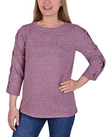 Women's 3/4 with Criss Cross and Grommets on Sleeve Top