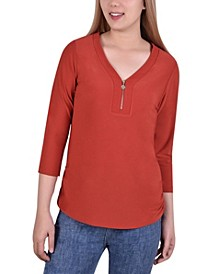 Women's 3/4 Sleeve Crepe Knit V Neck with Zipper Top