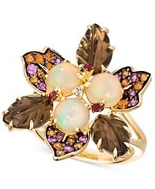 Multi-Gemstone (4-1/3 ct. t.w.) & Vanilla Diamond Accent Flower Ring in 14k Gold