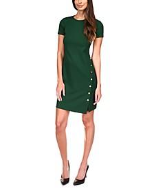 Button-Trim Mini Dress, Regular & Petite