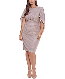Plus Size Drape-Back Glitter Sheath Dress