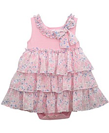 Baby Girls Tiered Floral Chiffon Bubble Onesie