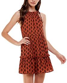 Juniors' Printed Halter Dress