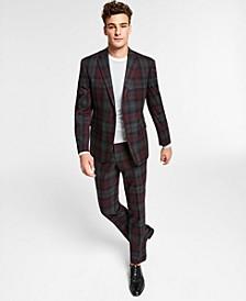 Men's Slim-Fit Burgundy Plaid Suit Separates, Created for Macy's
