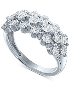 Lab-Created Diamond Cluster Ring (1/2 ct. t.w.) in Sterling Silver