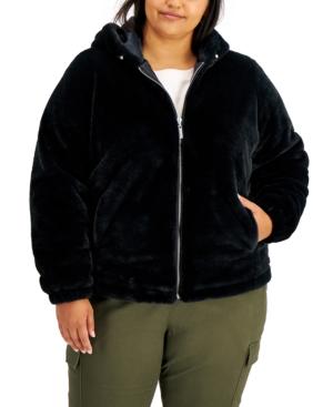Jou Jou Trendy Plus Size Hooded Faux-Fur Coat