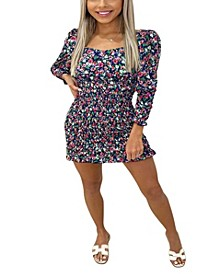 Women's Floral Printed Sheer Bodycon Dress