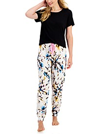 Ribbed T-Shirt & Printed Joggers, Created for Macy's