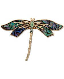 Gold-Tone Stone & Abalone Dragonfly Hair Barrette