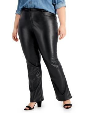 Trendy Plus Size Faux-Leather Flare Pants