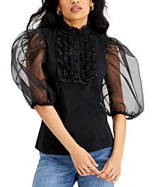 Organza-Sleeve Ruffled Top, Created for Macy's