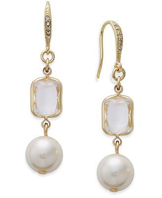 Charter Club Gold-Tone Imitation Pearl and Crystal Mini Drop Earrings