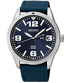 Seiko Men's Solar Blue Nylon Strap Watch 43mm SNE329