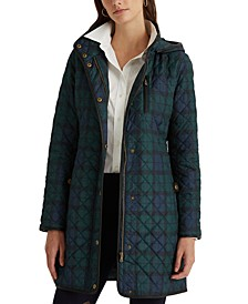 Faux Suede-Trim Quilted Coat, Created for Macy's