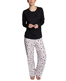 Plus Size Henley Top & Printed Pajama Pants Set