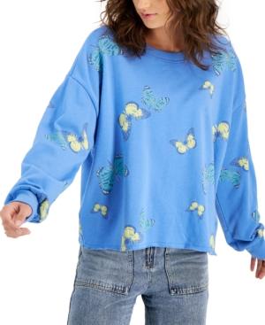 Juniors' Butterflies Cutoff Sweatshirt