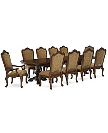 Lakewood 11-Piece Dining Room Furniture Set (Double Pedestal Dining Table, 8 Side Chairs & 2 Arm Chairs)