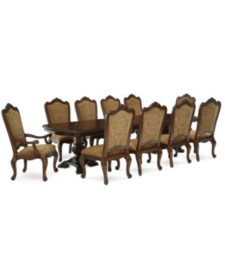 Lakewood 11 Piece Dining Room Furniture Set (Double Pedestal Dining Table,  8 Side