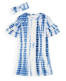 Big Girls Short Sleeve Tie Dye Shirt Dress with Matching Headband Set