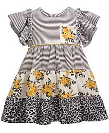 Toddler Girls Short Flutter Sleeve Knit Waistline Dress