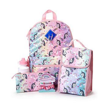 Love 2 Design Big Girls Unicorn Backpack, 6 Piece Set