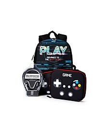 Big Boys Gaming Backpack with Headphone and Lunch Box 3 Piece Set