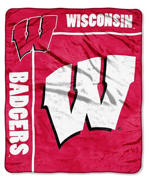 Northwest Company Wisconsin Badgers Plush Team Spirit Throw Blanket