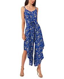 Printed Tie-Front Wide-Leg Jumpsuit
