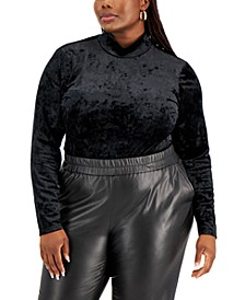 Trendy Plus Size Crushed Velvet Bodysuit