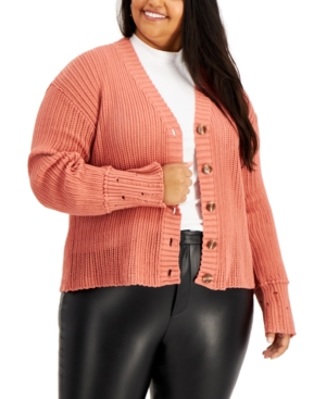 Plus Size Distressed Cardigan