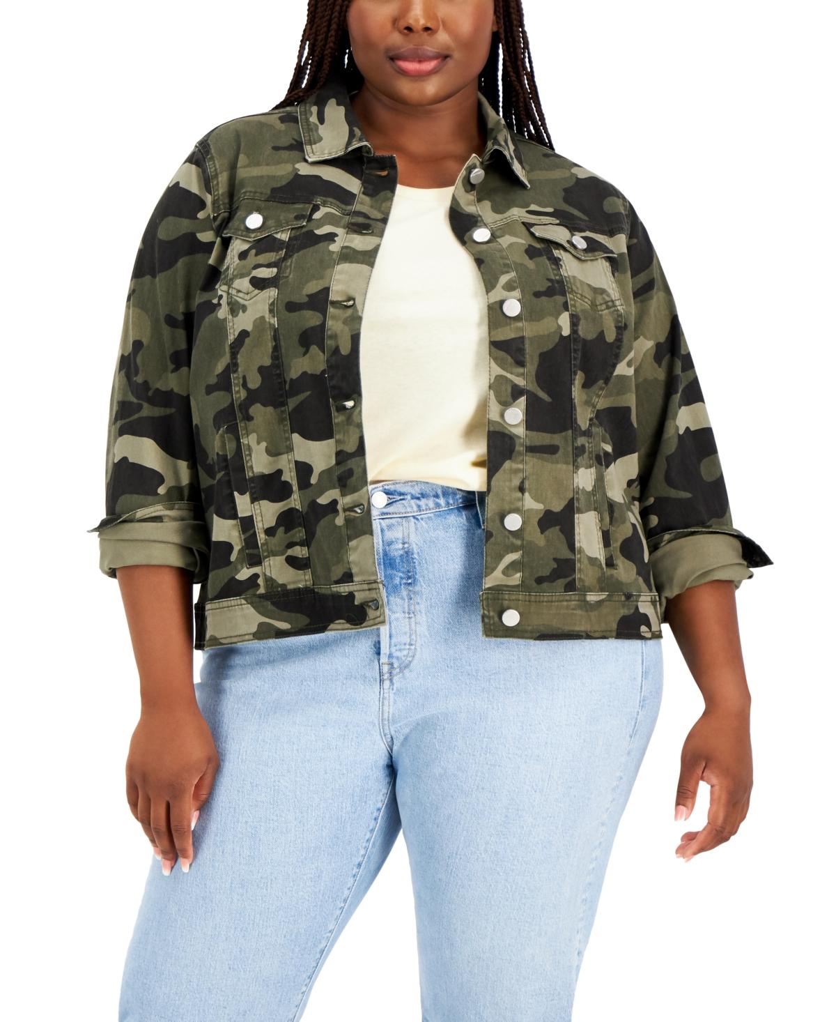 Trendy Plus Size Camo-Print Denim Jacket