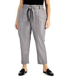 Plus Size Faux-Leather Tie-Waist Pants