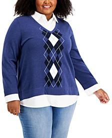 Plus Size Cotton Argyle Layered-Look Sweater