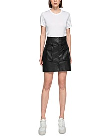 Jane Faux Leather Button-Front Cargo Mini Skirt