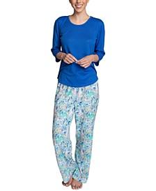 Plus Size Solid Top & Printed Pajama Pants Set