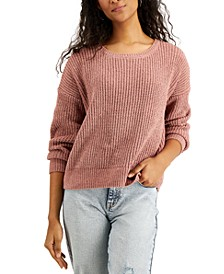 Juniors' Lace-Up Twisted-Back Sweater