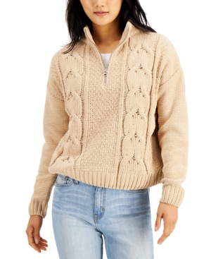 Juniors' Chenille Cable-Knit Sweater