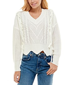 Juniors' Mixed Cable-Knit Sweater