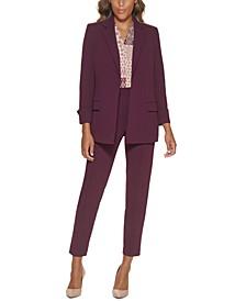 Petite Open-Front Jacket, Mix Media Blouse & Elastic-Back Pants