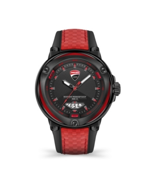 Men's Partenza Black and Red Silicone Strap Watch 49mm